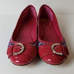 COPY - Coach REMMI pink ballet flats captoe paten…